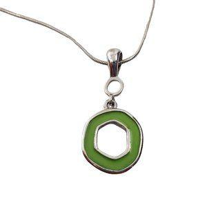 Lia Sophia Necklace Green Silver Tone Circle Geome